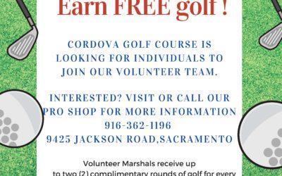 Earn FREE golf! Volunteer Marshals needed